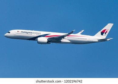 HEATHROW, LONDON, UK - April 20: An Airbus A350 of Malaysia Airlines taking off on April 20, 2018 at London Heathrow Airport, London, UK.