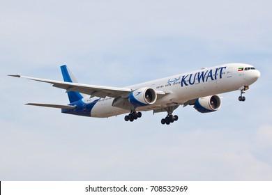 HEATHROW, LONDON, UK - AUGUST 28: Kuwait Airways Boeing 777-369 (9K-AOF) landing on August 28, 2017 at London Heathrow Airport, London, UK.