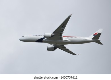 Heathrow, London / UK- March 10 2019: A Malaysia Airlines A350 XWB takes off from London Heathrow.