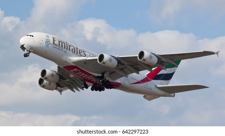 HEATHROW, LONDON, UK - MAY 13: Emirates Airline Airbus A380-861 (A6-EEE) taking off on May 13, 2017 at Heathrow Airport, London, UK.