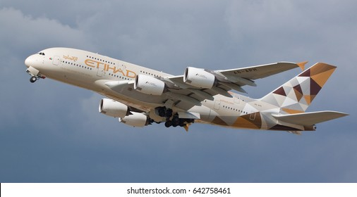 HEATHROW, LONDON, UK - MAY 13: Etihad Airways Airbus A380-861 (A6-APH) taking off on May 13, 2017 at Heathrow Airport, London, UK.
