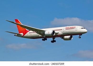 HEATHROW, LONDON, UK - MAY 3: Air India Boeing 787-8 Dreamliner (VT-AND) landing on May 3, 2014 at London Heathrow Airport, London, UK.