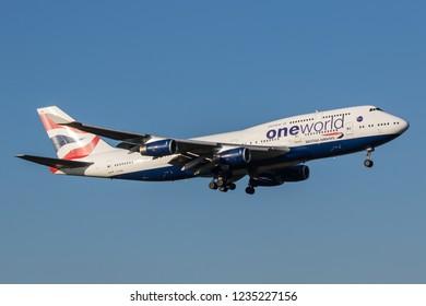 HEATHROW, LONDON, UK - November 17, 2018: British Airways oneworld livery Boeing 747-436 (G-CIVM) landing on November 17, 2018 at London Heathrow Airport, London, UK.
