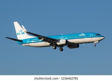 HEATHROW, LONDON, UK - November 17, 2018: KLM Royal Dutch Airlines Boeing 737-8K2(WL) (PH-BCE) landing on November 17, 2018 at London Heathrow Airport, London, UK.