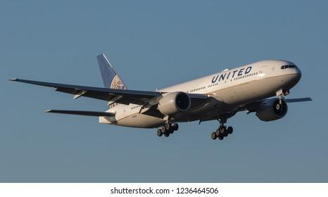 HEATHROW, LONDON, UK - November 17, 2018: United Airlines Boeing 777-222(ER) (N791UA) landing on November 17, 2018 at London Heathrow Airport, London, UK.