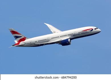 HEATHROW, LONDON, UNITED KINGDOM - JULY 6, 2017: Boeing 787-8 Dreamliner G-ZBJE of British Airways  taking off at Heathrow international airport.