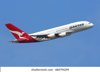 HEATHROW, LONDON, UNITED KINGDOM - JULY 6, 2017: Airbus A380-842 VH-OQL of Qantas airlines taking off at Heathrow international airport.