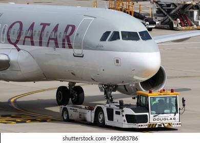 HEATHROW, LONDON, UNITED KINGDOM - JULY 7, 2017: Airbus A320 of Qatar Airways seen here performing flight for British Airways due to crew strike at Heathrow international airport.