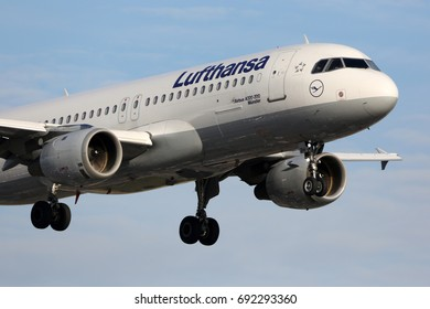 HEATHROW, LONDON, UNITED KINGDOM - JULY 7, 2017: Airbus A320-211 D-AIPH of Lufthansa landing at Heathrow international airport.