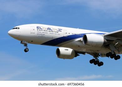 HEATHROW, LONDON, UNITED KINGDOM - JULY 7, 2017: Boeing 777-200ER 4X-ECE of El Al airlines landing at Heathrow international airport.