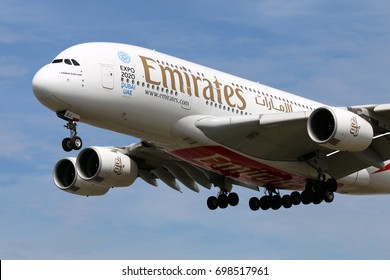 HEATHROW, LONDON, UNITED KINGDOM - JULY 7, 2017: Airbus A380-861 A6-EDJ of Emirates airlines landing at Heathrow international airport.
