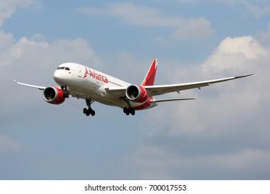 HEATHROW, LONDON, UNITED KINGDOM - JULY 9, 2017: Boeing 787-8 Dreamliner N784AV of Avianca airlines landing at Heathrow international airport.