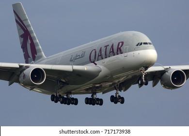 HEATHROW, LONDON, UNITED KINGDOM - JULY 13, 2017: Airbus A380-861 A7-APB of Qatar Airways landing at Heathrow international airport.
