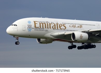 HEATHROW, LONDON, UNITED KINGDOM - JULY 13, 2017: Airbus A380-861 A6-EEE of Emirates landing at Heathrow international airport.