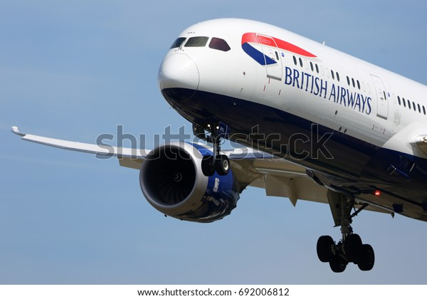 HEATHROW, LONDON, UNITED KINGDOM - JULY 7, 2017: Boeing 787-9 Dreamliner G-ZBKL of British Airways landing at Heathrow international airport.