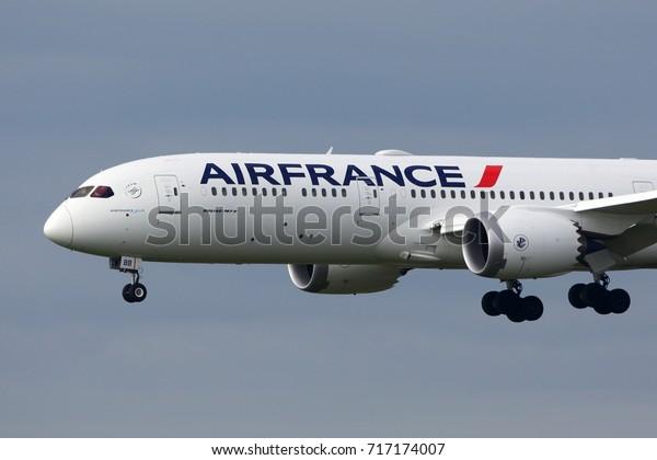 HEATHROW, LONDON, UNITED KINGDOM - JULY 13, 2017: Boeing 787-9 Dreamliner F-HRBB of Air France landing at Heathrow international airport.