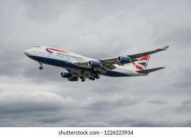 HEATHROW UK, 14 JULY, 2017: A British Airways Boeing 747-400 approaches to land