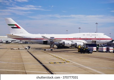 HEATHROW, UNITED KINGDOM -3 AUGUST 2015- A Boeing 747 4F6 from Abu Dhabi Amiri Flight, the organization responsible for transporting members of the government of Abu Dhabi in the United Arab Emirates.