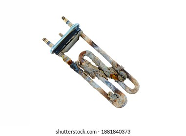 heating element of the washing machine water heater with scale and sediment, isolated on a white background