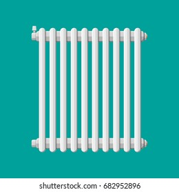 Heating radiator. Retro heating system. illustration in flat style