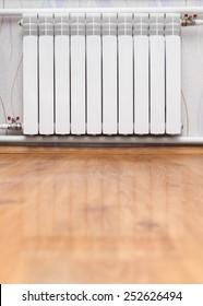 Heating radiator in room. Design of interiors