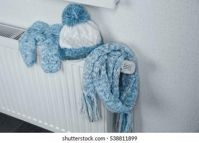 Heating radiator with warm clothes indoor