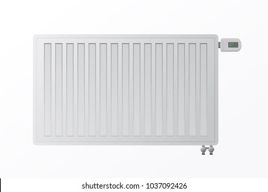Heating steel panel radiator for HVAC systems on a white background. The bottom connection of the heater. Electronic controller illustration. Protection from the cold during the winter.