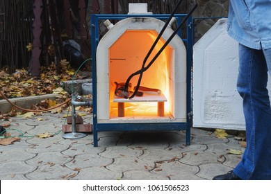 Heating stove for clay outside