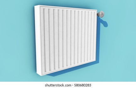 Heating system on blue wall in a house (3D Rendering)