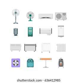 Heating, Ventilation and Conditioning Devices Set for the House And Office. Flat Design Style. illustration