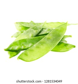 Heatly green snow peas isolated on a white background