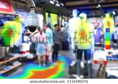 Heatmap Analytic in smart fashion retail shop technology concept. Artificial intelligence cctv of security camera with heat sense application check shoppers passed from any point in store.