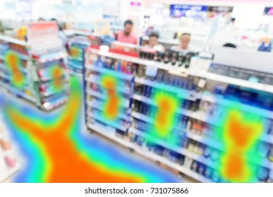 Heatmap Analytic in smart retail shop technology concept. Artificial intelligence application of security camera with heat sense application check shoppers passed from any point in store.