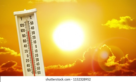 Heatwave hot sun. Climate Change. Global Warming. Thermometer high temperatures. Weather warning.