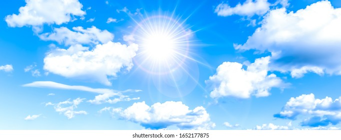The heaven and clouds with the sun