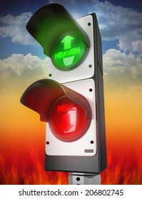 heaven and hell traffic lamp concept