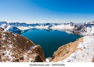 Heaven lake summit of Changbai Moutain in Winter season ,Jilin ,China, Asia