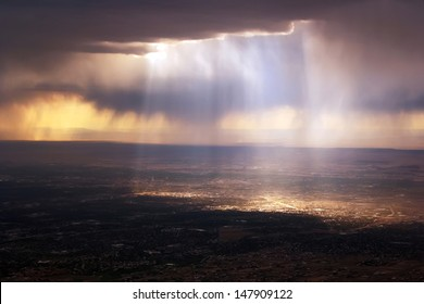 Heavenly dramatic light above Santa Fe,New Mexico