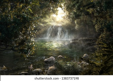 Heavenly jungle with beautiful waterfall