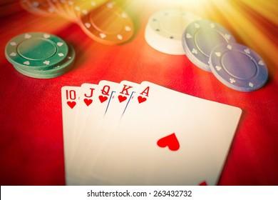 Heavenly light illuminates a winning hand in this poker background photo