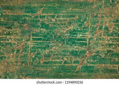 Heavily distressed rusty painted sheet metal poster board