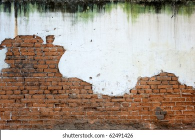 Heavily mold stained white plaster has crumbled to reveal a worn brick wall below