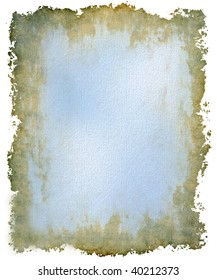 Heavily textured canvas grunge background with coating of fresh blue paint