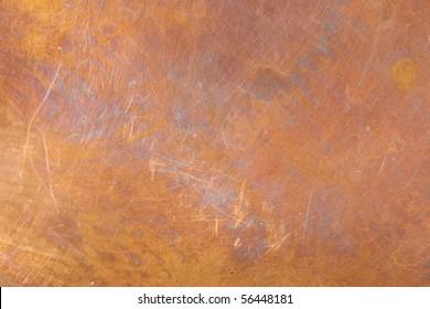 Heavily Worn Copper Texture Surface Even Focus Across