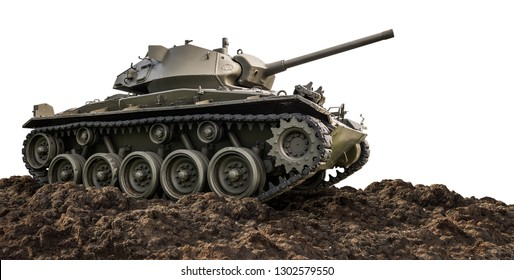 Heavy armor military tank attacking on ground isolated on white background with clipping path