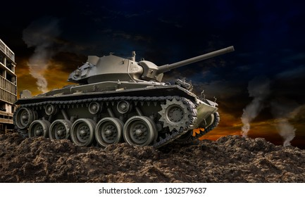 Heavy armor military tank attacking on ground in sunset background