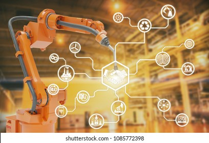 heavy automation robot arm machine in smart factory industrial,Industry 4.0 concept image.