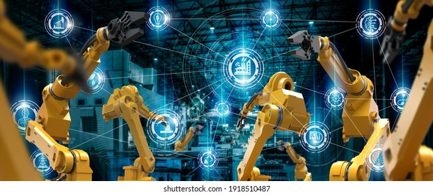 heavy automation robot arm machine in smart factory industrial,Industry 4.0 concept image.  - Shutterstock ID 1918510487