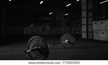 Heavy barbell on floor gym studio stock photo edit now 775003420