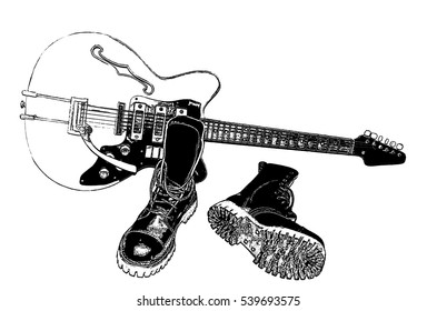 Heavy black leather boots with safety steel toe against the backdrop of electric guitar (linocut, isolated on white)